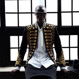 blazers homens europeus Desconto 2019 Homens Elegantes Blazer Casaco Bordado Jaqueta de Ouro Preto Boate Cantor Masculino Traje Estilo Europeu C Estúdio Estágio Desgasta