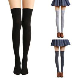 Mujeres Niñas Color sólido Algodón Muslo Alto Por encima de la rodilla Medias Estudiante Estilo japonés Opaco básico Calcetines largos elásticos desde fabricantes