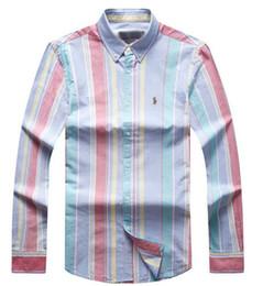 2019 polo polido listrado masculina Ralph polo lauren camisa dos homens da marca oficial novo estilo dos homens tops clássico moda camisas listradas lazer pulôver de algodão de alta qualidade camisa