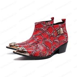 Talones 6.5cm Altas botas de los hombres del cuero partido formal rojo del vestido de los cargadores del tobillo de oro punta estrecha y los zapatos