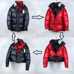 double sided wear jacket Promo Codes - Vetements Goose Double-Sided Black And Red Down Jacket Men's One Piece Of Clothing Four Wearing Wind-Resistant Cold Jacket DHL Delivery