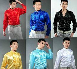 Tuxedo blue color for mens on-line-O envio gratuito de escolha de 6 cores vermelho / amarelo / branco / azul / homens de preto do smoking camisas camisas performance de palco