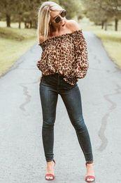 1900902250 good quality Ladies Off-shoulder Slash Neck Casual Top Women Autumn Sexy  Long Sleeve Leopard Print Chiffon Blouse