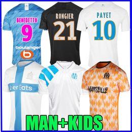 font camisa de futebol Desconto 19 camisa de futebol 2019 2020 rosa fontes maillot de camisa de futebol 20 do Olympique de Marseille pé Rongier BENEDTTO Thauvin MAN KIDS retro 120