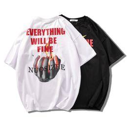 t-shirt à l'épaule Promotion 2019 nouveau design t-shirt t-shirt à manches courtes numérique impression directe Hip hop flamme hommes tombant épaule manches vêtements d'été