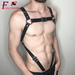 Roupa masculina do bdsm on-line-Couro Fullyoung Sexy Fetish Homens Gay Chest Harness Top ajustáveis roupas de couro masculino Harness sexy para BDSM Bondage Straps 6z