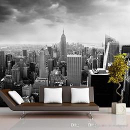 Nacht stadt fotos online-Schwarz Weiß 3d Fototapete Nachtlandschaft New York City Benutzerdefinierte 3D Fototapete für Hintergrund Wohnzimmer Architectural Removable