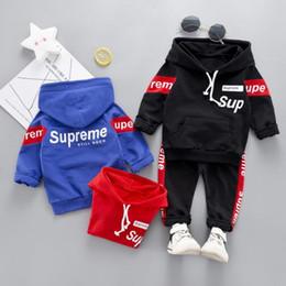 Niña con capucha online-Primavera otoño Toddler chándal conjuntos de ropa de bebé niños niños niñas ropa niños algodón Hoodies pantalones 2 unids / set