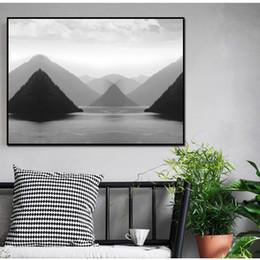New Art chinois Toile d encre Peinture noir et blanc Montagne Paysage d  affiche Résumé Wall Art moderne Salon de décoration intérieure