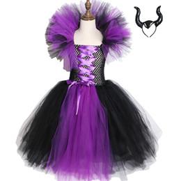 vestidos de tutú para niñas 12 años Rebajas Maleficent Evil Queen Girls Tutu Vestido de Halloween para niños Cosplay Disfraces de brujas Fancy Girl Party Dress 2-12y J190712