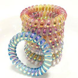 Kadınlar Kız Kauçuk Saç Halat Elastik Hairbands Spiral Şekli Bobin Saç Kravatlar Şapkalar Aksesuarları Telefon Tel Hattı Bandı Saç aksesuarları cheap tie headbands nereden kravat baş bantları tedarikçiler