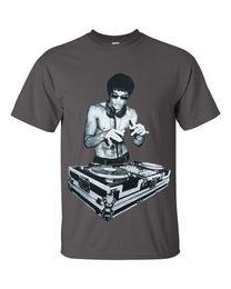 1ed42179a1dbcd DJ Bruce Lee Mens Charcoal T shirt Worn by Tony Stark Avengers Movie  Headphones Cool xxxtentacion marcus and martinus tshirt