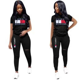 designer t shirt dresses Coupons - Designer Women Champions Letter Summer Tracksuits Short Sleeve Hooded T-shirt + Ripple Holes Pants Leggings 2 Piece Sports Suit Outfit