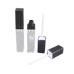 espelhos lábios Desconto Atacado-50pcs / lot, 7ml LED luz tubo de recipiente de brilho labial tubo com espelho anexado em um rosto, preto e prata cap50pcs / lot