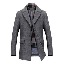 Canada Manteau de laine pour manteaux d'hiver pour hommes épais coton laine vestes homme Casual Mode Slim Fit longue veste écharpe hommes Outwear Plus la taille cheap scarves male Offre