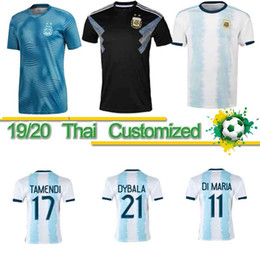 Jerseys uniformes argentina on-line-Tailandeses 2020 Argentina de Futebol Início da camisa do futebol 19/20 Copa América # 10 MESSI # 9 Agüero # 21 DYBALA nº 22 uniformes de futebol Lautaro