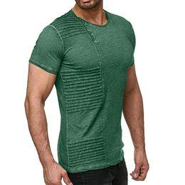 Drapiertes hemd online-Mode Designer Casual Reine Farbe Drapierte Mens Shirts Designer Button Rundhalsausschnitt Kurzarm Vintage Tops Männer Casual Tees