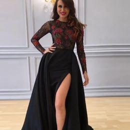 schwarze schiere spitze schlitzkleid Rabatt Modest arabischen schwarzen Abendkleider mit langen Ärmeln rote Rose-Spitze-Ober High Side Slit Naher Osten Frauen formale Abendkleider