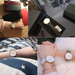 2019 relógio de couro caixas de presente Hot top relógios de luxo moda estilo de couro 40 / 36mm rosa de ouro mens dw relógios com relojes caixa de presente relógio de couro caixas de presente barato