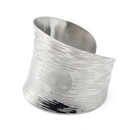 2abeec6fcb0 sterling silver celtic cuff bracelets Promo Codes - Silver Bangle Wave  Pattern Silver Color Wide Bracelet