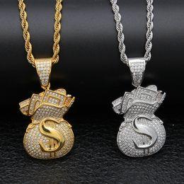 Diamantes de dinero online-Chapado en oro Iced Out CZ Cubic Zirconia Hombres USD Bolsa de dinero Colgante Collar de cadena Diseñador Lujo Full Diamond Hip Hop Joyas Regalos para hombres