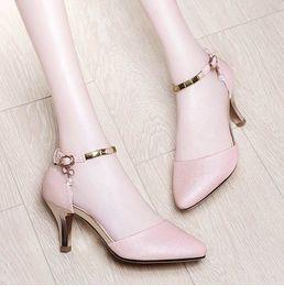 Donne coreane sandalo casual online-2019 nuove donne di moda sandali casual da donna tacchi alti scarpe per ragazze fibbia di ventilazione scarpe da donna edizione coreana