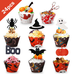 cupcake decoration tools Promo Codes - 24pcs DIY Halloween Decoration Cupcake Liner&Cake Topper Baking Cup Paper Cake Box Cup Halloween Party Cake Decorating Tools