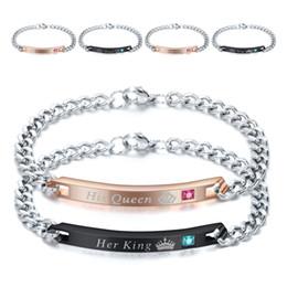 Nueva cadena de rey online-2019 Nuevo diseñador de titanio de acero inoxidable CZ Lovers Chain ID Bracelet Her King His Queen Pulseras a juego Día de San Valentín regalos al por mayor