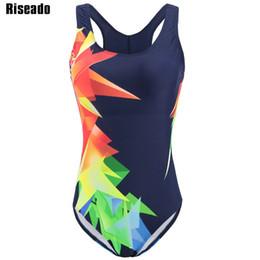 trajes de baño de competición de natación Rebajas Riseado Nuevo traje de baño de las mujeres 2019 de una pieza traje de baño femenino impreso deporte competición trajes de natación para mujeres trajes de baño SH190702
