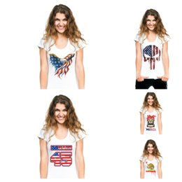 Nueva bandera de Trump camisetas estilo caliente camisetas de manga corta camisetas camisas de verano para mujeres camiseta grande para mujeres ropa para el hogar T2B5011 desde fabricantes