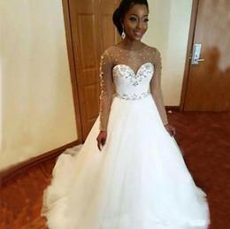 e6ff2eaee vestidos de boda corsé brillante Rebajas Mangas largas Tallas grandes Vestidos  de novia Baratos 2019 Árabe