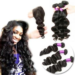tipi di onde di capelli Sconti Estensione di tessitura dei capelli di Remy Tipo Capelli vergini sciolti dei capelli sciolti vergini indiani non trattati delle tre con chiusura