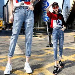 03d628b5d36 korean fashion summer jeans NZ - Spring and Summer 2018 New Pierced Jeans  Female Korean Version