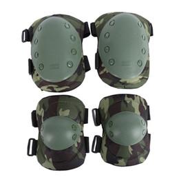 protetor de airsoft Desconto Joelheiras ajustáveis Tático Militar Paintball Skate Cotovelo Joelheiras Airsoft Combate Protective Set ajoelhado # 119444