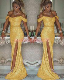 bata de chicas sexy Rebajas Bling High Split Sequined Mermaid Prom Dresses Juniors 2020 Sexy Gold Off Shoulder Party Gown Robe de soirée Mujer Niña Ropa Noche