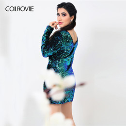 888cbd6d3518 Colrovie Women Dress Elegant Sexy Club Dresses Korean Style Brand Green  Iridescent Long Sleeve Sequin Bodycon Dress Y19012201