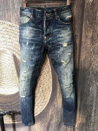corredores de couro Desconto Marca Designer de Moda Esqueleto dos homens Calça Jeans de Equitação de Couro Patchwork Fino Preto Jeans Motociclista dos homens Calças Jeans Afligido dos homens D2