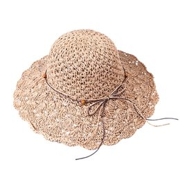 117c14f21ce29 crochet summer brim hat Coupons - Solid Color Foldable Crochet Cap Hollow Dome  Straw Wide Brim