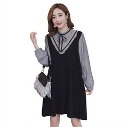 874bf8492e4dc 2019 new arrival long striped sleeve patchwork loose pregnant women dress  maternity preppy style faux two pieces mini dress nice