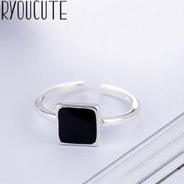 богемское кольцо 925 Скидка Богемский большой реальный стерлингового серебра 925 квадратных кольца для женщин ювелирные изделия панк старинные антикварные палец обручальное кольцо подарок