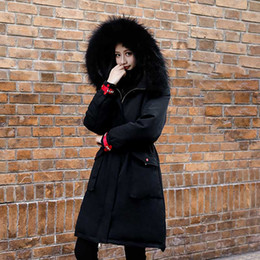 Abrigo de esquí largo online-Mujeres 4XL Chaqueta larga de invierno Cálido con capucha Parka Puffer Snow Ski Oversize Abrigo largo Terciopelo Damas Coreano Negro prendas de abrigo