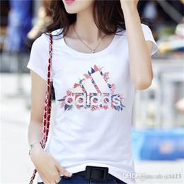 Logos gedruckt porzellan online-2019 marke logo luxus damenbekleidung sommer t-shirt designer ice china baumwolle kurzarm t-shirt top gedruckt kurzarm kleid m-3xl