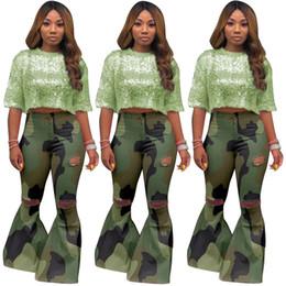 botas camufladas Desconto Mulheres Designer Camo Bootcut Calças Ripped Buraco Sino Bottoms Camouflage Boot Cut Calças Plus Size S-3XL Verão Queda Casual Roupas 1334