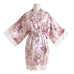 0645dd4777 Women Kimono Bathrobe Flower Sexy Wedding Bride Bridesmaid Robes Satin  Night Dress Gown Casual Sleepwear Lace Home Clothes