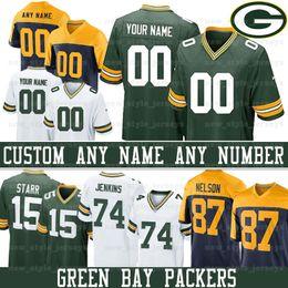 Grüne bucht trikots online-Benutzerdefinierte Green Bay 15 Bart Starr Packers Jersey 69 David Bakhtiari 4 Brett Favre 74 Elgton Jenkins 87 Jace Sternberger 22 Dexter Williams
