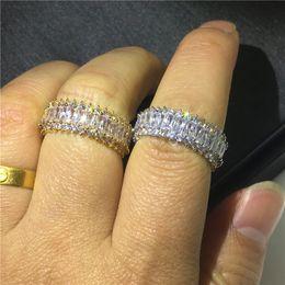 Weißgold cz engagement online-Klassische Versprechen Ring Weißgold Gefüllt Diamant cz Stein Engagement Hochzeit Band Ringe Für Frauen Männer Partei Schmuck Geschenk