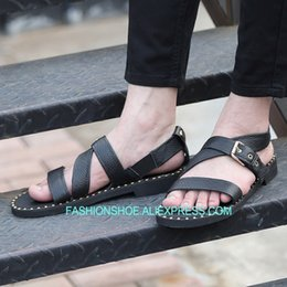 68096df28722d Sandals Men 2018 Fashion Hot New Summer Black British Genuine leather Mens  Gladiators