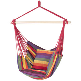 cores hammock atacado Desconto Hammock Hanging Corda Cadeira Porch Swing Assento Pátio Camping Portátil Red Stripe
