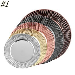Bandejas de frutas inoxidáveis on-line-28cm Fruit Dishes Stainless Steel Multi Color Display Tray Salver Rose Gold Circular Kitchen Tableware ZZA1190