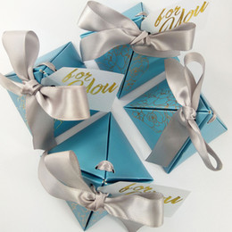 pirámide de papel en caja Rebajas Pirámide triangular Cajas de dulces de papel Favores de boda y caja de regalo con GRACIAS Tarjeta Cinta Suministros para la fiesta Decoración de boda